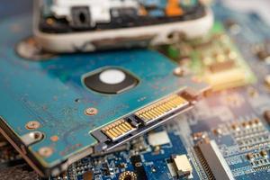 technologie électronique d'ordinateur de carte principale de micro-circuit, matériel, téléphone portable, mise à niveau, concept de nettoyage photo