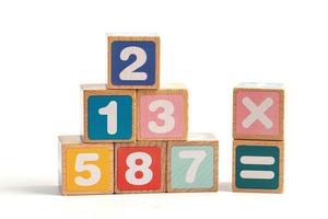 nombre de mathématiques coloré sur fond blanc, étude de l'éducation concept d'enseignement de l'apprentissage des mathématiques photo