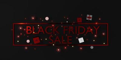 vente de magasin de bannières du vendredi noir avec des cadeaux et des ballons illustration 3d photo