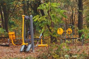 Entraîneur de simulateurs de carrossier à l'extérieur dans le parc de la ville d'automne photo