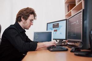 le jeune pirate dangereux brise les services gouvernementaux en téléchargeant des données sensibles et en activant des virus. un homme utilise un ordinateur portable avec de nombreux moniteurs photo