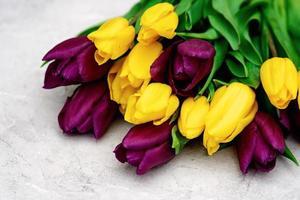 bouquet de fleurs de tulipes de printemps violet et jaune sur un gros plan de fond clair. espace de copie. fête des mères. journée internationale de la femme. photo