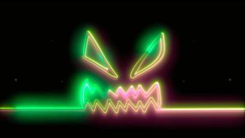 vert néon halloween effrayant, emoji, rendu 3d, photo