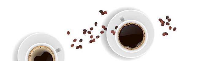 café réaliste et grains de café sur fond blanc - vector photo