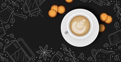 fond de café avec une tasse de café réaliste - vecteur photo
