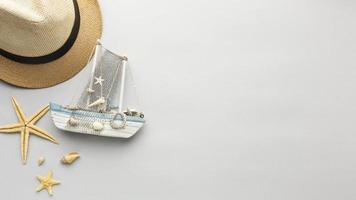 vue de dessus chapeau étoile de mer bateau photo