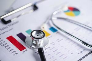 stéthoscope et billets de banque en dollars américains sur papier graphique ou graphique, concept de santé financière, de compte, de statistiques et de données commerciales. photo