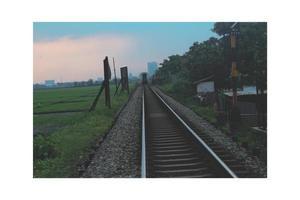 chemin de fer photo coucher de soleil