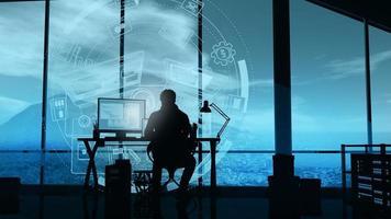 le développeur web travaille dans son bureau sur l'arrière-plan de l'infographie. photo