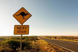 panneau de signalisation de croisement de kangourou photo