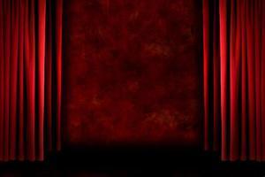 rideaux de scène grungy à l'ancienne rouge photo