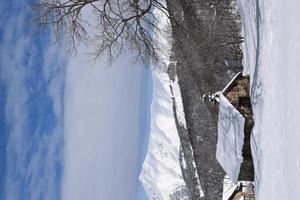 maison dans la neige dans les montagnes photo