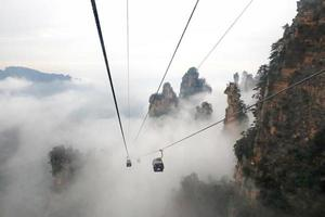 le téléphérique de montagne tianmen, le plus long téléphérique de montagne au monde tianzishan chine photo