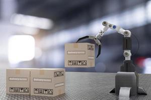 main robot cyber futur futuriste humanoïde tenir boîte produit technologie 3d appareil de rendu vérifier l'industrie inspection inspecteur transport maintenance robot service technologie haute technologie industrie photo