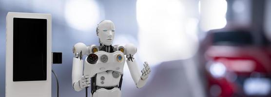robot cyber futur futuriste humanoïde salut technologie industrie garage ev-voiture chargeur recharger faire le plein électrique station véhicule transport transport future voiture clients pour le transport automobile automobile photo