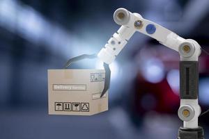 robot cyber futur futuriste humanoïde tenir boîte produit technologie ingénierie appareil vérifier, pour l'industrie inspection inspecteur transport maintenance robot service technologie rendu 3d photo