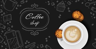 pause-café, café élégant fond sombre - vector photo