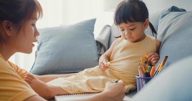 Joyeuse famille asiatique joyeuse, maman apprend à une fille à utiliser un album de peinture et des crayons colorés s'amusant à se détendre sur un canapé dans le salon de la maison. passer du temps ensemble, distance sociale, quarantaine pour le coronavirus. photo