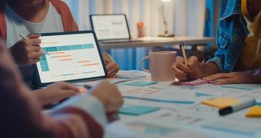 gros plan d'affaires asiatiques réunion plan d'analyse statistiques remue-méninges et en-tête de l'équipe tenir le graphique de point de la tablette et l'employé prend note la nuit du bureau à domicile. concept de réussite de la stratégie financière. photo