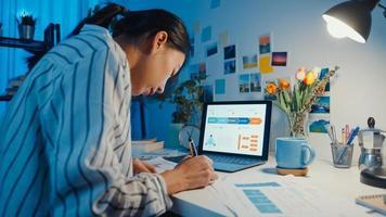 jeune femme d'affaires asiatique indépendante se concentre sur un ordinateur portable écrire une feuille de calcul financière graphique compte plan de marché dans un ordinateur portable et une tablette la nuit de la maison. une étudiante apprend en ligne, travaille à domicile. photo