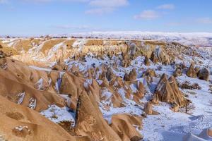Paysage de roche volcanique de cheminées de contes de fées en Cappadoce avec ciel bleu en arrière-plan photo