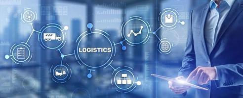 concept de distribution et de transport de réseau logistique. livraison de biens photo