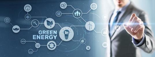 énergie verte écologie naturelle puissance électrique vitesse créative. concept d'écologie de la technologie photo