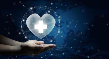 concept de soins de santé, d'assurance maladie, de charité et de médecine. photo