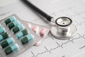 stéthoscope sur électrocardiogramme avec pilule capsule, onde cardiaque, crise cardiaque, rapport de cardiogramme. photo