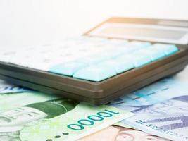 la corée du sud a gagné la monnaie des billets de banque macro avec calculatrice, argent coréen photo