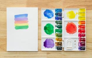 peintures à l'aquarelle définies dans une palette blanche avec du papier blanc pour le fond. photo