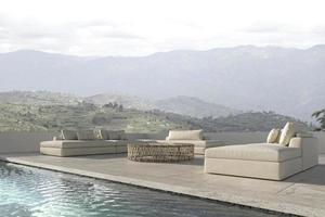 zone lounge design scandinave sur balcon. canapé avec piscine et fond de vue nature. maison terrasse extérieure illustration de rendu 3d. photo