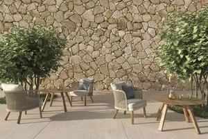 Café avec terrasse extérieure ouverte de style scandinave avec des meubles en osier et des arbres. mur de maquette. illustration de rendu 3D. photo