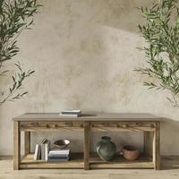 chambre design scandinave avec oliviers. mur de maquette dans un fond intérieur de maison confortable. illustration de rendu 3d de style ferme. photo