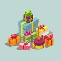 de nombreuses boîtes différentes avec des cadeaux pour les vacances - vector photo