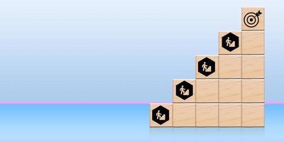 le processus de croissance et de succès du concept d'entreprise, de près et de main personnelle d'un homme d'affaires organisant un cube de bois avec empilement de flèches comme escalier. à la cible photo