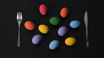 oeufs de pâques ou oeuf de couleur. multicolore des oeufs de pâques photo
