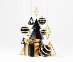 bannière de rendu 3d de luxe de Noël ou carte de voeux. décoration minimaliste moderne du nouvel an et de noël en or et noir avec arbre, bonbons, boule, coffret cadeau sur fond noir photo