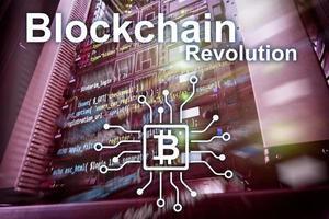 révolution blockchain, technologie d'innovation dans les entreprises modernes. photo