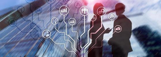 icônes d'applications commerciales sur fond flou. financier et commercial. concept de technologie internet. photo