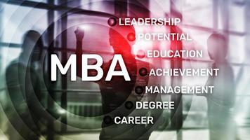 MBA - master en administration des affaires, concept d'apprentissage en ligne, d'éducation et de développement personnel photo