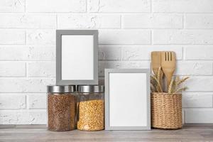 comptoir de cuisine à cadre vierge photo