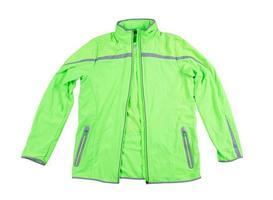 veste de sport isolée, veste verte pour courir ou faire du vélo sur fond blanc - réflecteurs sur la veste photo