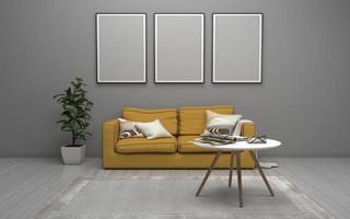 Rendu 3D d'un salon intérieur moderne avec canapé - maquette réaliste de canapé et de table photo