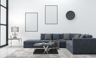 maquette réaliste rendu 3d intérieur du salon moderne avec canapé - canapé et table photo