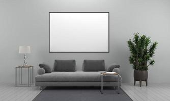 Cadre de salon moderne intérieur rendu 3D avec canapé - canapé et table photo