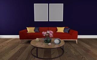 maquette réaliste de rendu 3d de l'intérieur d'un salon moderne avec canapé - canapé et table photo