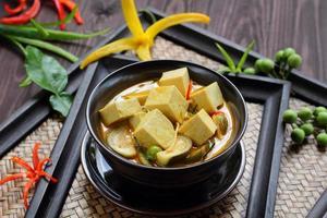 nourriture végétale au tofu au curry vert.