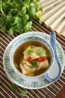 soupe au chili chinois avec des boulettes de won ton
