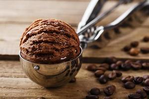 cuillère cuillère boule chocolat crème glacée café